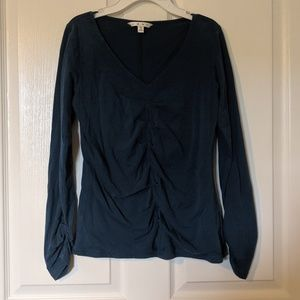 CAbi Ruched Blue Long Sleeved Shirt M